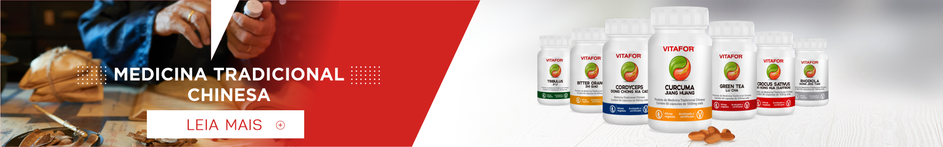 Banner sobre fitonutrientes. Embalagens da linha de fitonutrientes da Vitafor®
